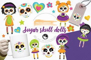 Skull dolls graphics & illustrations