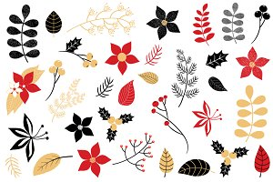 Winter and Christmas foliage set