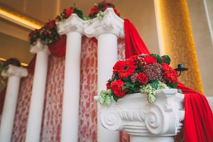 Festive wedding decoration. Decor for the ceremony. Artwork