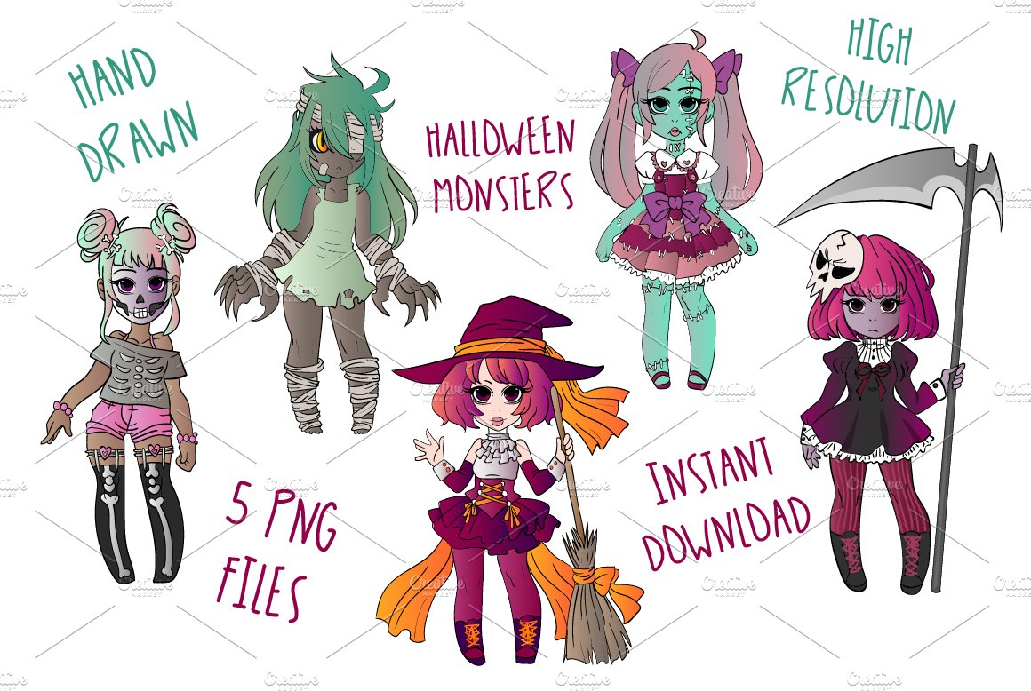 Halloween Monsters Clipart Set ~ Illustrations ~ Creative Market