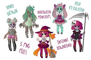 Halloween Monsters Clipart Set