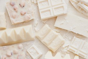 A variety of white chocolate