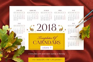 2018. Templates of Calendars. Vol. 2