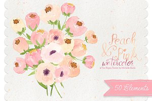 Watercolor Peach Flower Clipart
