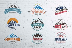 Mountain Vintage Badges Color