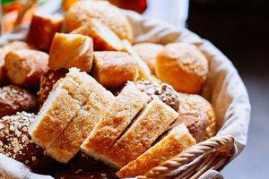 Bread in basket, homemade cooking
