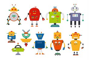 Set of cute vintage cartoon robots