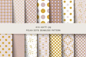 Seamless gold patterns polka dots
