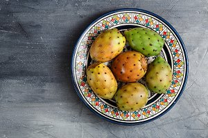 Opuntia ficus-indica, Barbary fig, cactus pear, spineless cactus, prickly pear, Indian fig opuntia on a plate for dessert