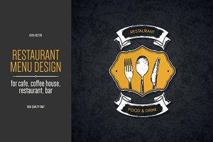 Restaurant menu design with a sketch