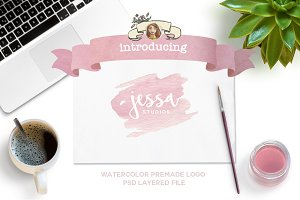 Blush Pink Watercolor Premade Logo