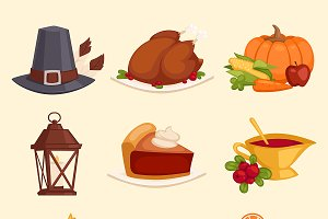 Happy Thanksgiving Day icons vector
