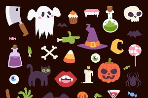 Halloween Night creepy symbols icons