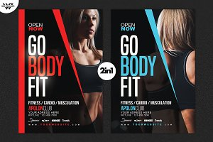 2in1 Fitness Workout Flyer Template