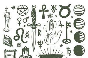 vector esoteric symbols sketch icons