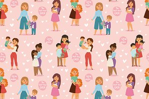 Mother and kids Day woman day vector