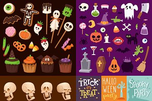 Halloween Night creepy symbols