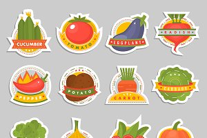 Vector vegetables label logo badge