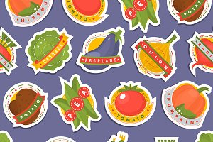 Vector vegetables icons pattern