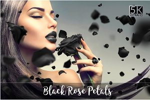 5K Black Rose Petals Overlays