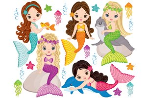Vector Mermaids Clipart