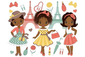 Vector Paris Girls Clipart