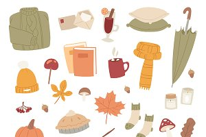 Autumn season icons symbols