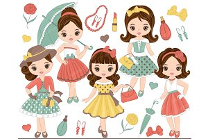 Vector Fashion Girls Clipart