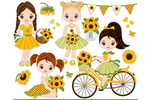 Vector Sunflower Set