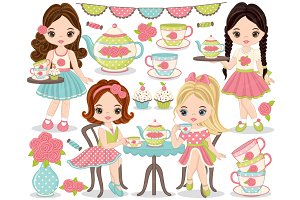Vector Tea Party Set