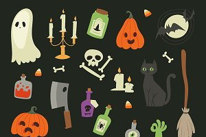Halloween symbols icons vector