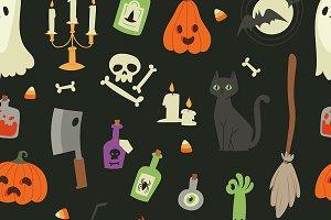 Halloween carnival symbols seamless