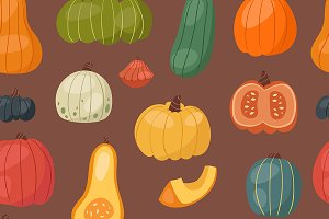Fresh pumpkin seamless pattern