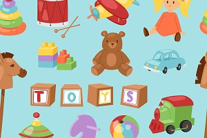 vector kids toys collection pattern