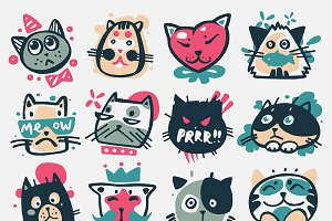 Cartoon cat heads vector kitty faces