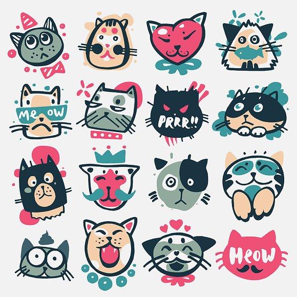 Cartoon Cat Heads Vector Kitty Faces Illustrations Creative Market