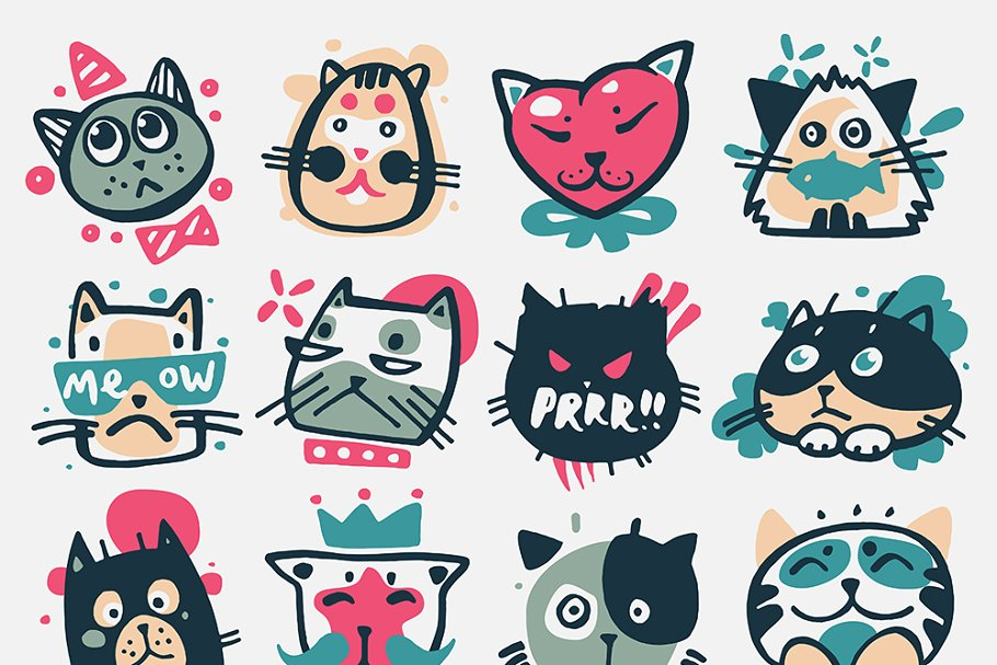 Cartoon Cat Heads Vector Kitty Faces Pre Designed Illustrator