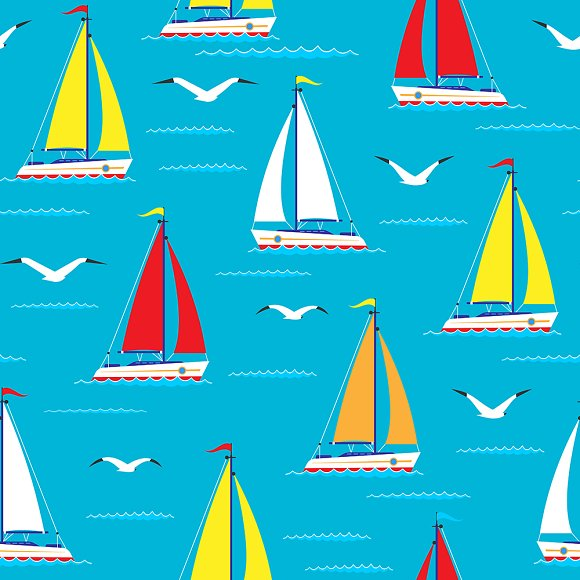 Ship Sailing Boat Sea Seamless