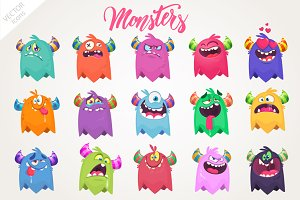 Cartoon 15 monsters. Vector set