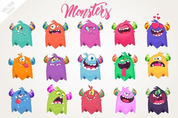 Cartoon 15 Monsters Vector Set