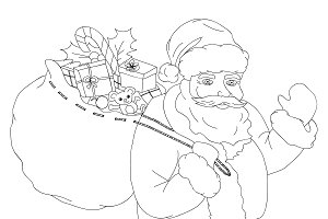 Santa Claus, black and white