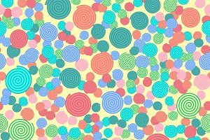 Colorful spirals seamless pattern
