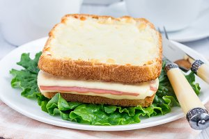 French toasted sandwich Croque monsieur, closeup