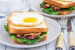 Traditional french toasted sandwich Croque madame with bacon and mushrooms