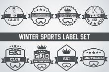 Set of Snowboarding or SKI Labels