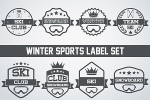 Set of Snowboarding or SKI Labels