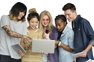 Friends Using Tablet (PNG)