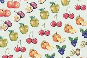 Hand drawn watercolor of fruit