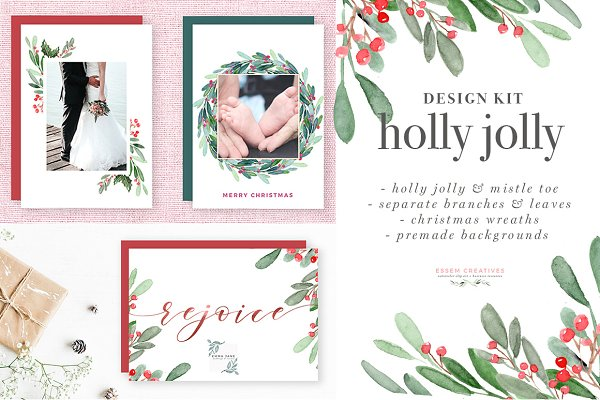 Holly Jolly  Christmas Card Clipart