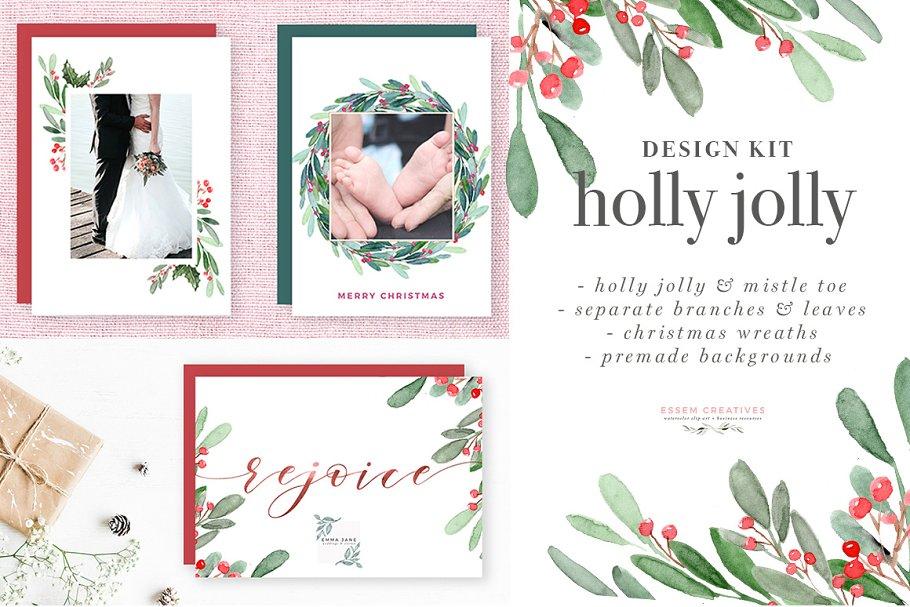 Christmas Card Clip Art.Holly Jolly Christmas Card Clipart Illustrations